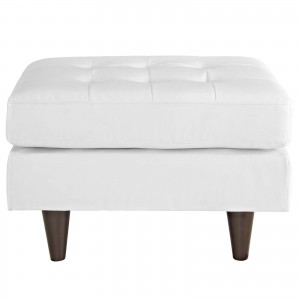 Empress Leather Ottoman, White by Modway Furniture