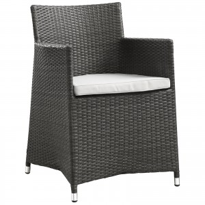 Junction 5 Piece Outdoor Patio Synthetic Rattan Wicker Dining Set, Brown/White by Modway Furniture
