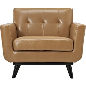 Engage 2 Piece Tufted  Leather Living Room Set, Tan by Modway Furniture