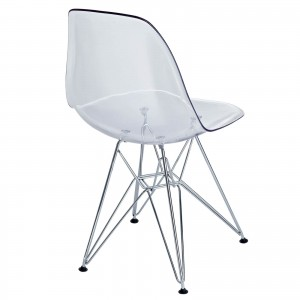 Paris Dining Side Chair, Clear by Modway Furniture