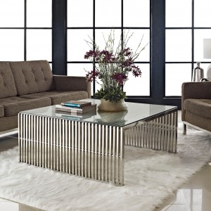Gridiron Glass/Stainless Steel Coffee Table by Modway Furniture