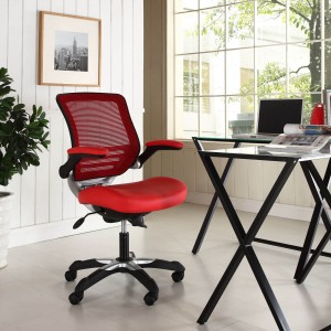 Edge Vinyl Office Chair, Red by Modway Furniture