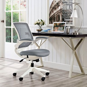 Edge White Base Office Chair, Gray by Modway Furniture