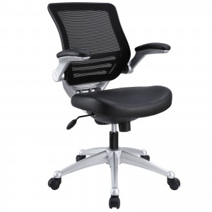 Edge Leather Office Chair, Black by Modway Furniture