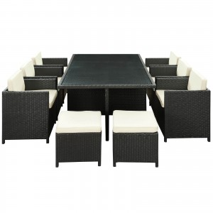 Reversal 11 Piece Outdoor Patio Dining Set, Espresso + White by Modway Furniture