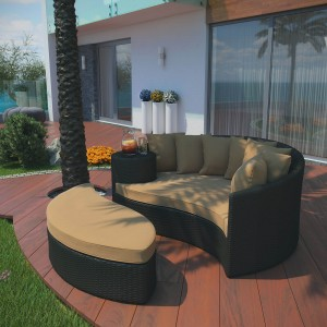 Taiji Outdoor Patio Daybed, Espresso + Mocha by Modway Furniture