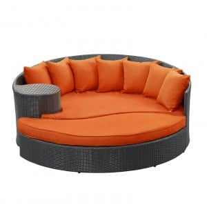 Taiji Outdoor Patio Daybed, Espresso + Orange by Modway Furniture