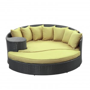 Taiji Outdoor Patio Daybed, Espresso + Peridot by Modway Furniture