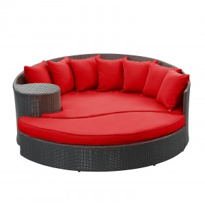 Taiji Outdoor Patio Daybed, Espresso + Red by Modway Furniture