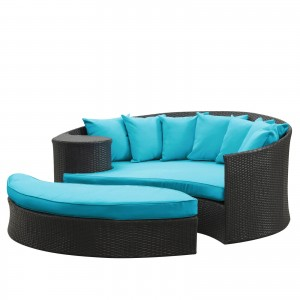Taiji Outdoor Patio Daybed, Espresso + Turquoise by Modway Furniture