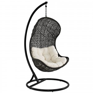 Parlay Swing Outdoor Patio Lounge Chair, Espresso + White by Modway Furniture