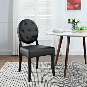 Button Dining Side Chair, Black by Modway Furniture