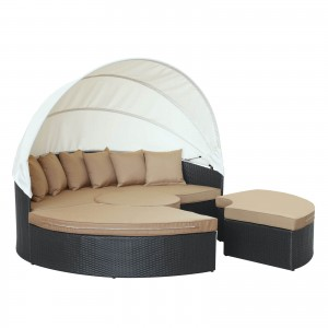 Quest Canopy Outdoor Patio Daybed, Espresso + Mocha by Modway Furniture