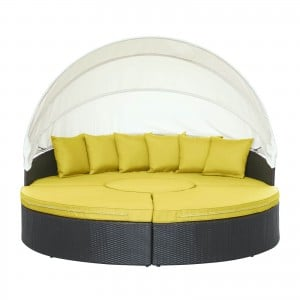 Quest Canopy Outdoor Patio Daybed, Espresso + Peridot by Modway Furniture