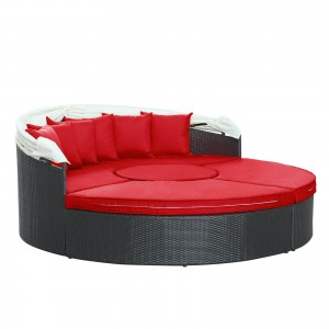 Quest Canopy Outdoor Patio Daybed, Espresso + Red by Modway Furniture