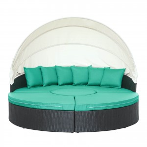 Quest Canopy Outdoor Patio Daybed, Espresso + Turquoise by Modway Furniture
