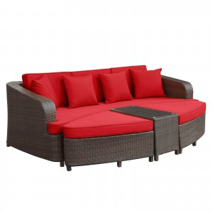 Monterey 4 Piece Outdoor Patio Sofa Set, Brown + Red by Modway Furniture