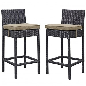 Lift Outdoor Patio Synthetic Rattan Bar Stool (Set of 2), Espresso/Mocha by Modway Furniture