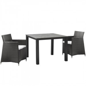 Junction 3 Piece Outdoor Patio Synthetic Rattan Weave Wicker Dining Set, Brown/White by Modway Furniture