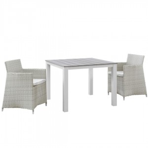 Junction 3 Piece Outdoor Patio Synthetic Rattan Weave Wicker Dining Set, Gray/White by Modway Furniture