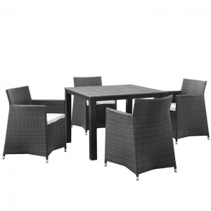 Junction 5 Piece Outdoor Patio Synthetic Rattan Weave Wicker Dining Set, Brown/White by Modway Furniture