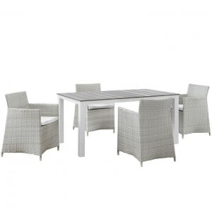 Junction 5 Piece Outdoor Patio Synthetic Rattan Wicker Dining Set, Gray/White by Modway Furniture