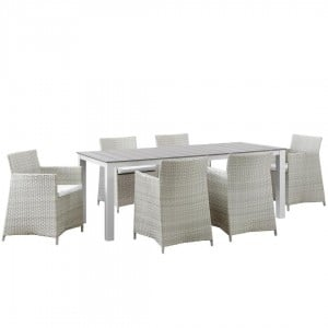 Junction 7 Piece Outdoor Patio Synthetic Rattan Wicker Dining Set, Gray/White by Modway Furniture