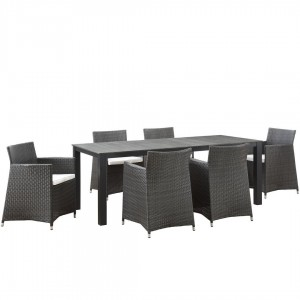 Junction 7 Piece Outdoor Patio Synthetic Rattan Wicker Dining Set, Brown/White by Modway Furniture