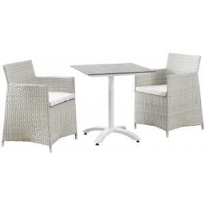 Junction 3 Piece Outdoor Patio Dining Set, Gray White by Modway Furniture