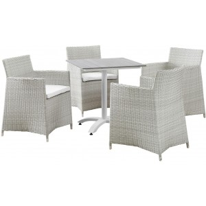 Junction 5 Piece Outdoor Patio Synthetic Rattan Wicker Dining Set w/Dining Table and 4 Armchairs, Gray/White by Modway Furniture