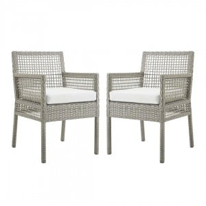 Aura Outdoor Patio Synthetic Wicker Rattan Dining Armchair (Set of 2), Gray/White by Modway Furniture