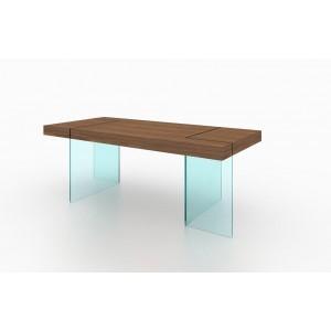 Elm Modern Rectangular Wood/Glass Dining Table by J&M Furniture
