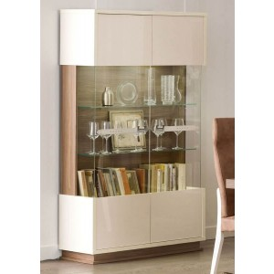 Evolution Modern Wood 2 Door China Cabinet w/Light by Status, Italy