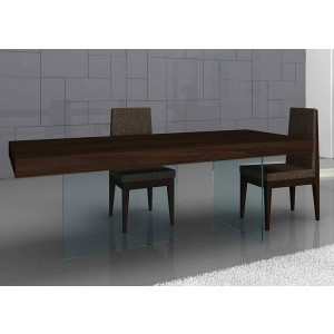 Float Modern Rectangular Wood/Glass Dining Table by J&M Furniture