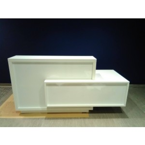 FORO Reception Desk, Left-Handed Counter, High Gloss White by MDD Office Furniture