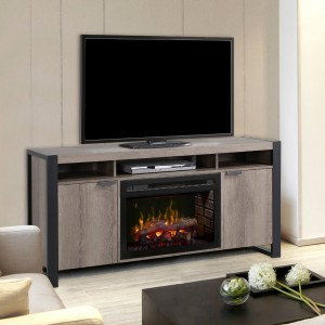 Pierre Media Console With Firebox, Steeltown Finish, Realogs 25""
