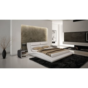 Wave Bed, Queen Size, White by J&M Furniture