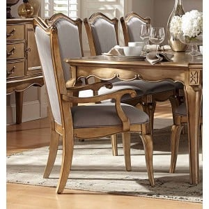 Chambord Antique Fabric/Wood Dining Arm Chair by Homelegance