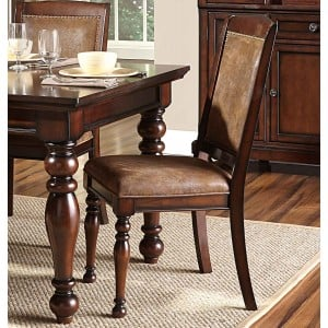 Cumberland Transitional Microfiber/Wood Dining Chair by Homelegance
