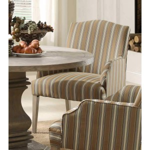 Euro Rustic Fabric/Wood Dining Arm Chair by Homelegance