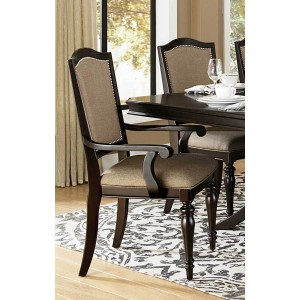 Marston Classic Fabric/Wood Dining Arm Chair by Homelegance