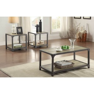 Rumi Wood Occasional Table Set (Coffee Table + 2 End Tables) by Homelegance