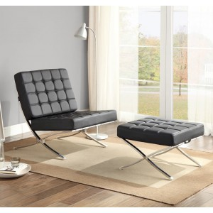 Pesaro PU Accent Set (Chair + Ottoman) by Homelegance