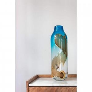 Mystic Blue Glass Vase by MOE'S