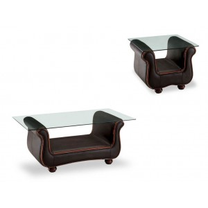 262 Glass/Leather Coffee Table Set by ESF Furniture