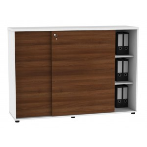 Standard A3P08 Medium Office Storage Unit w/2 Sliding Doors, White Pastel/Lowland Nut by MDD Office Furniture