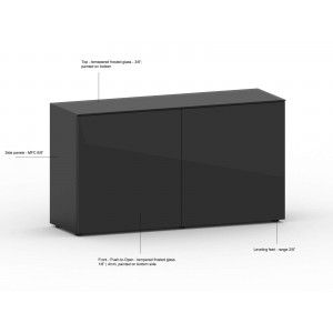 "WRS IMPULS 53"" 2-Door Glass Credenza, Black by MDD Office Furniture"