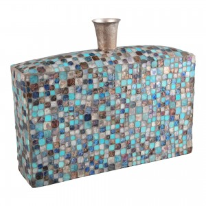 Azul Mosaic Iron/Glass Vase by MOE'S