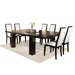 Jordan Wood/Glass/Leather Dining Room Set by Sharelle Furnishings
