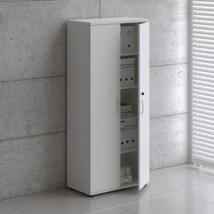 Basic K5104 Tall Office Shelving Storage w/2 Doors, White by MDD Office Furniture